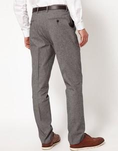 Строгие брюки узкого кроя из саржи ASOS - Серый