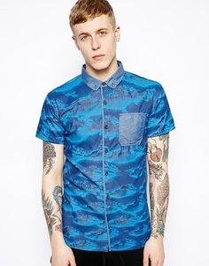 Рубашка с короткими рукавами и принтом Volklore - Синий