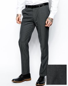 Серые брюки слим в ломанную клетку ASOS - Серый