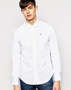 Эластичная рубашка с логотипом-флажком Hilfiger Denim - Белый