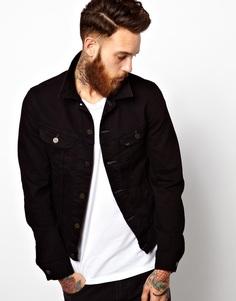 Черная эластичная джинсовая куртка слим Lee Rider - Прямые черные