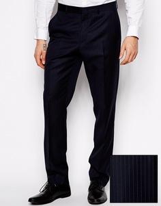 Зауженные брюки из 100% шерсти ASOS - Темно-синий