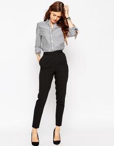 Прямые брюки с завышенной талией ASOS - Черный