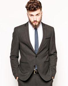 Приталенный пиджак с окантовкой ASOS - Угольный