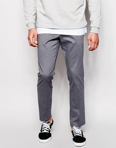 Строгие зауженные брюки из хлопкового атласа ASOS - Серый