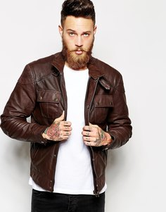 Кожаная куртка с нагрудным карманом ASOS - Коричневый