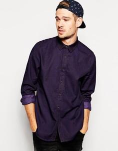 Джинсовая рубашка с длинными рукавами и вышивкой ASOS - Фиолетовый