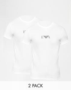 2 футболки с круглым вырезом и логотипом на груди Emporio Armani - Белый