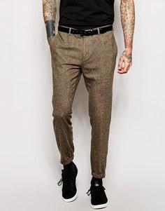 Спортивные брюки слим из твида ASOS - Коричневый