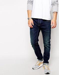 Темные узкие джинсы ASOS - Синий