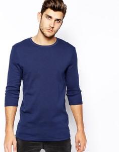 Длинная футболка в рубчик с рукавами 3/4 ASOS - Синий