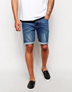 Супероблегающие джинсовые шорты средней длины ASOS - Умеренный синий