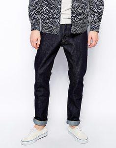 Черные нестираные джинсы слим Weekday Wednesday - Нестиранный