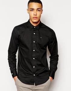 Стретчевая хлопковая рубашка Hilfiger Sabim - Черный Tommy