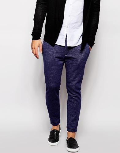 Элегантные зауженные спортивные брюки из первосортного трикотажа ASOS - Темно-синий