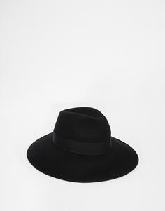 Черная мягкая фетровая шляпа с широкими полями ASOS - Черный