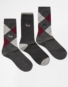 3 пары носков с ромбами Pringle Waverley - Серый