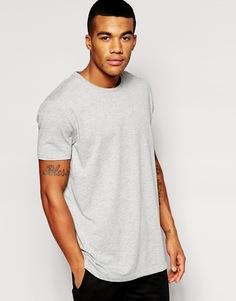 Длинная футболка с круглым вырезом ASOS - Серый меланж