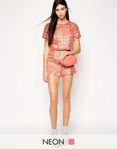 Жаккардовые шорты с завышенной талией Lashes of London - Розовый