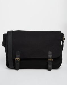 Черный портфель с контрастными ремешками ASOS - Черный