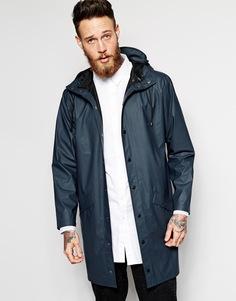 Длинная непромокаемая куртка Rains - Темно-синий
