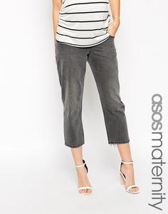 Укороченные серые джинсы с оборванным краем ASOS Maternity Maddox Parallel - Угольный