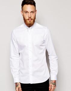 Рубашка скинни с булавкой на воротнике Noose & Monkey - Белый