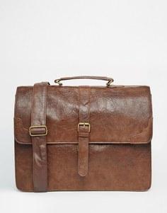 Cтрогая сумка-сэтчел из светло-коричневой искусственной кожи ASOS - Рыжий