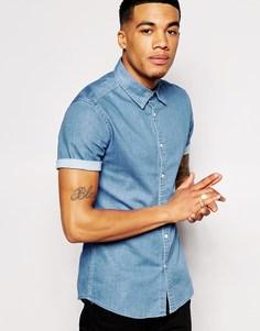 Зауженная джинсовая рубашка с короткими рукавами ASOS - Умеренный выбеленный
