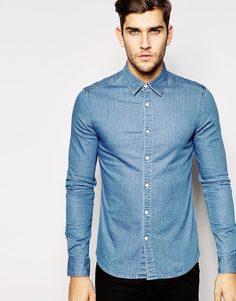 Зауженная выбеленная джинсовая рубашка с короткими рукавами ASOS - Умеренный выбеленный