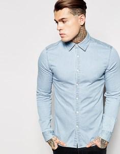 Выбеленная джинсовая рубашка скинни с длинными рукавами ASOS - Выбеленный
