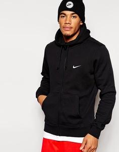 Худи на молнии с логотипом-галочкой Nike - Черный