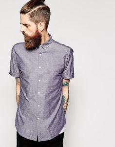 Рубашка приталенного кроя в горошек с короткими рукавами Farah - Темный индиго