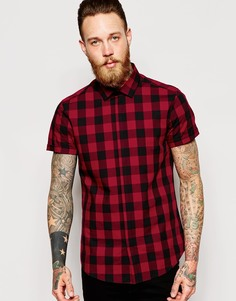 Рубашка с короткими рукавами в клетку ASOS - Красный
