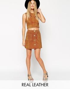 Замшевая юбка-трапеция на пуговицах с карманами ASOS co-ord - Рыжий