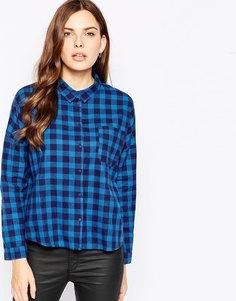 Рубашка в клетку с длинными рукавами Minimum - 679 океанский синий