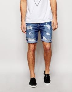 Рваные джинсовые шорты слим ASOS - Умеренный синий