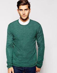 Джемпер из мериносовой шерсти с круглым вырезом ASOS - Зеленый меланж