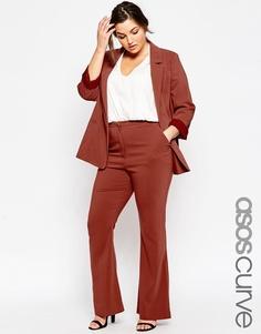 Расклешенные брюки ASOS CURVE Premium - Красно-бурый