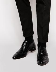 Оксфордские туфли-броги из натуральной кожи ASOS - Черный