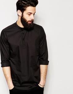 Рубашка с длинными рукавами и планкой длиной 3/4 ASOS - Черный