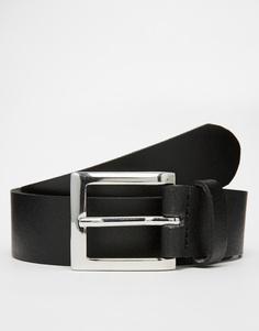 Черный кожаный ремень ASOS - Черный