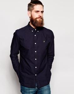 Синяя оксфордская рубашка слим Farah - Синий