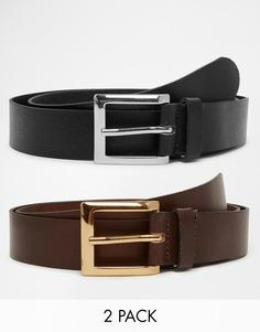 Комплект из 2 кожаных ремней черного и коричневого цвета ASOS -
