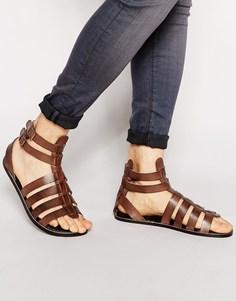 Кожаные гладиаторские сандалии ASOS - Коричневый