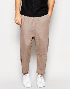 Льняные спортивные штаны с заниженным шаговым швом ASOS - Хаки