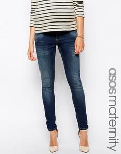 Зауженные джинсы для беременных с эластичным поясом ASOS Maternity Ridley - Умеренный выбеленный
