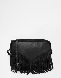 Сумка через плечо в стиле вестерн из кожи и замши с бахромой ASOS - Черный