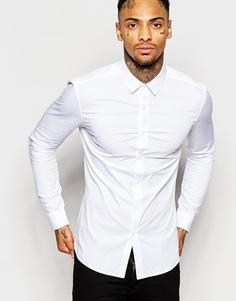 Белая облегающая рубашка с длинными рукавами ASOS - Белый