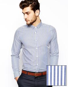 Строгая рубашка с длинными рукавами в полоску ASOS - Синий